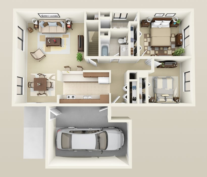 2 Bedroom Duplex floor plan for Heather Downs Apartments