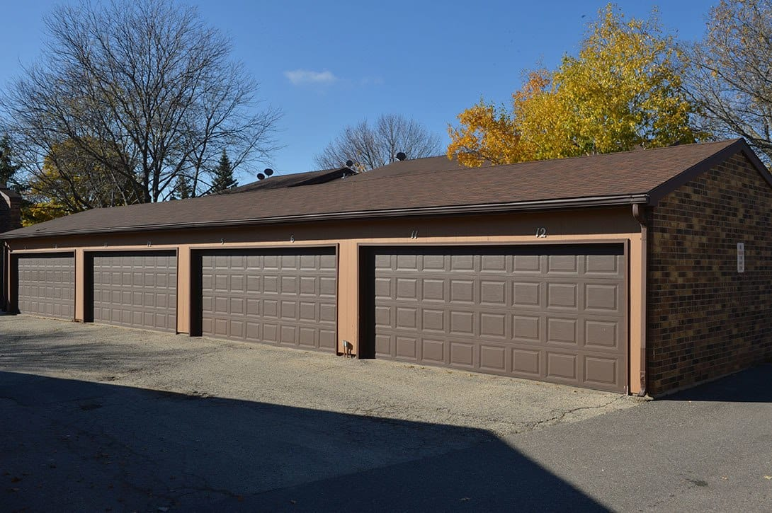 Covered garages at Heather Downs Apartments