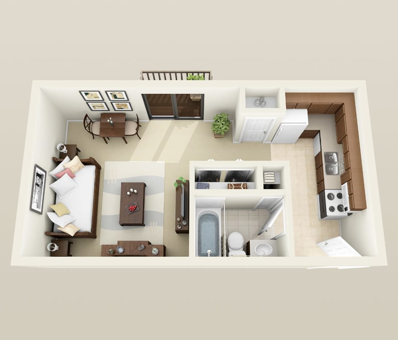 Cambridge floor plan at Heather Downs Apartments