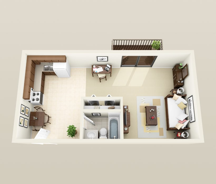 Churchill floor plan at Heather Downs Apartments