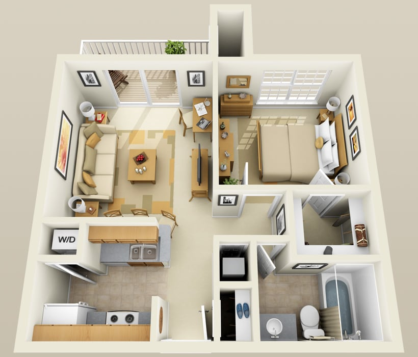 A-1 floor plan at Lincoln Ridge Apartments
