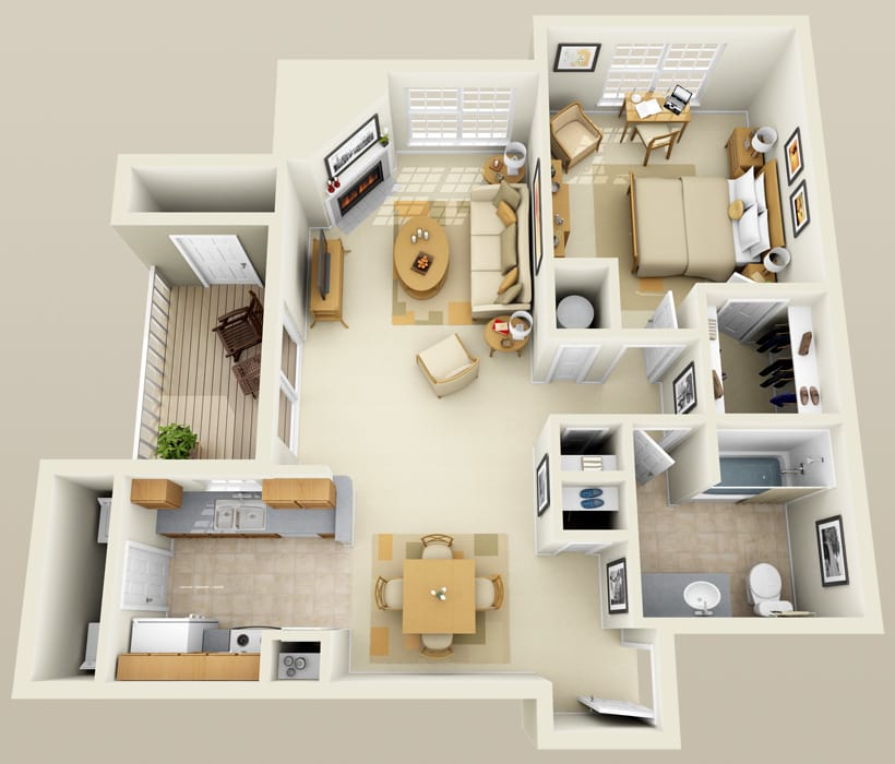 A-3 floor plan at Lincoln Ridge Apartments