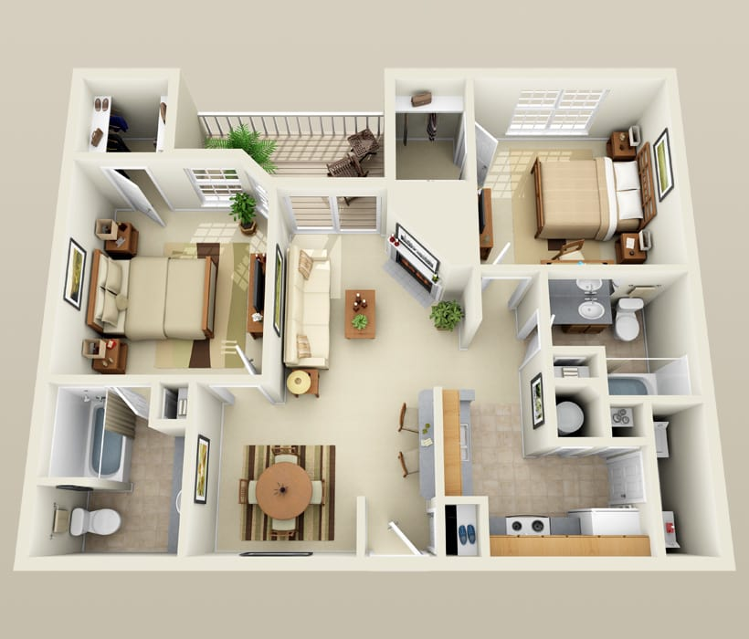 B-1 floor plan for Lincoln Ridge Apartments