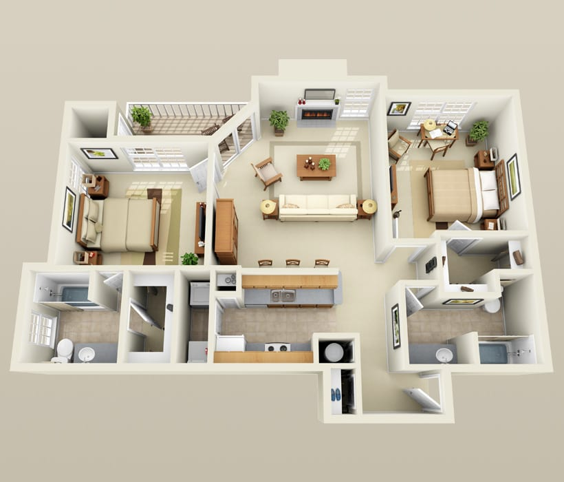 B-3 floor plan for Lincoln Ridge Apartments