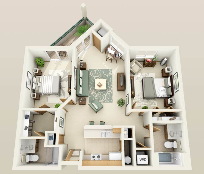 The Hawthorne floor plan at Hidden Oak Apartments
