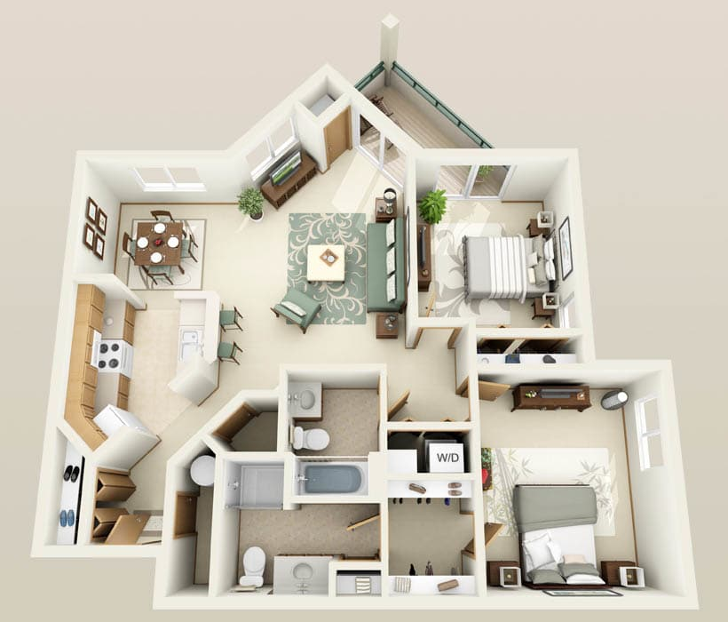The Mahogany floor plan at Hidden Oak Apartments
