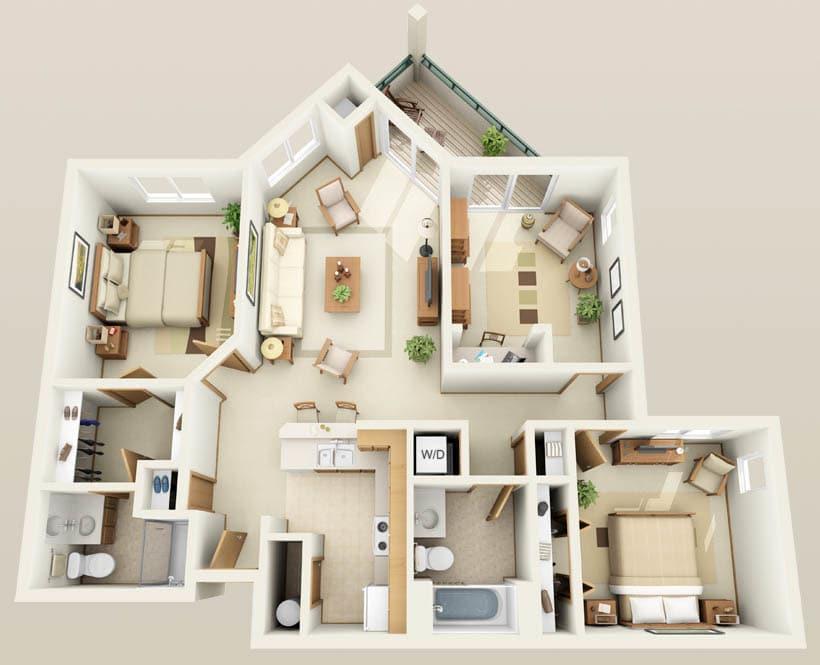 The Redwood floor plan for Hidden Oak Apartments
