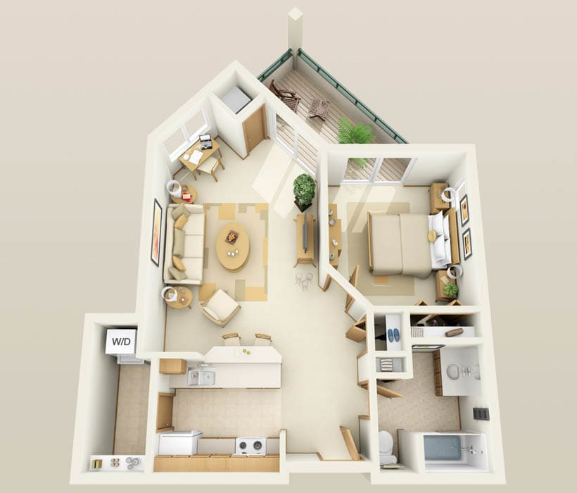 The Spruce floor plan at Hidden Oak Apartments