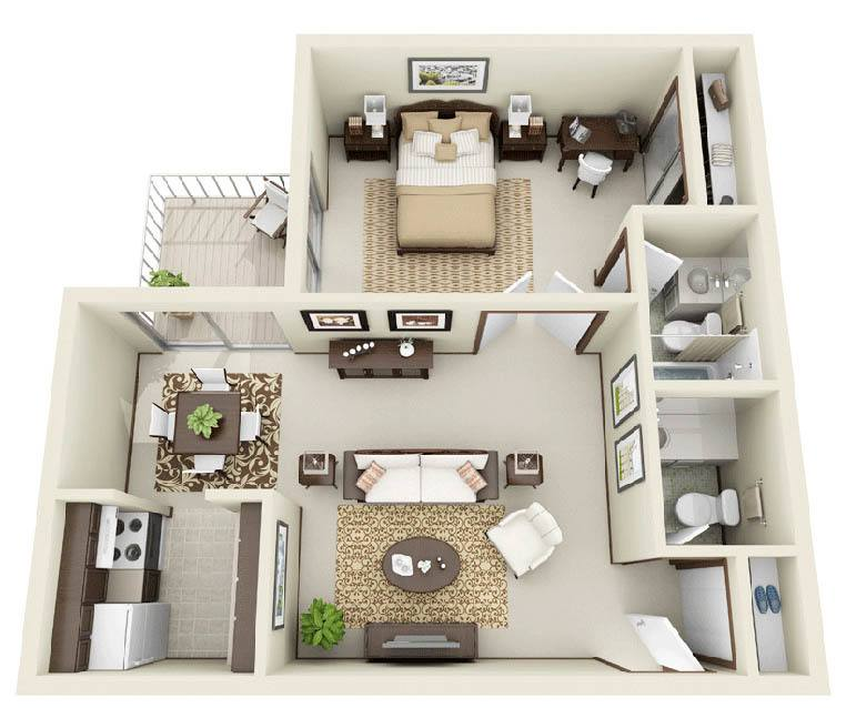1 Bedroom floor plan at Normandy Village Apartments