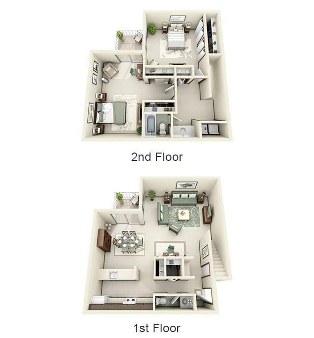 2 Story floor plan for Normandy Village Apartments
