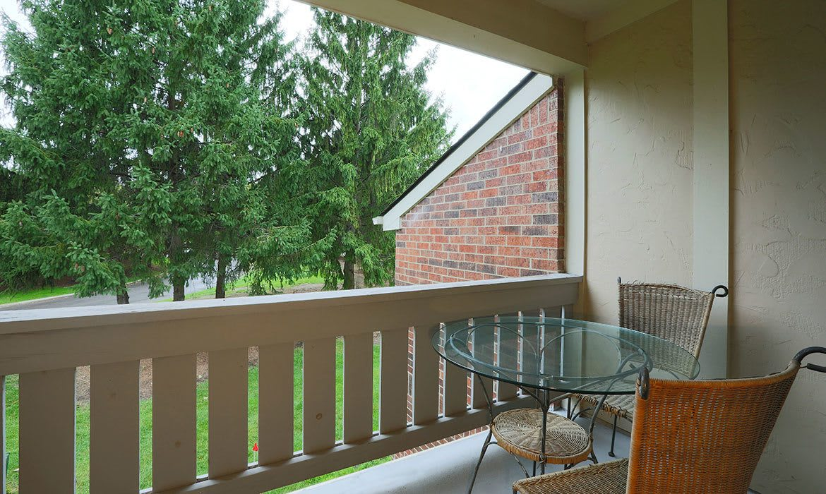 The private patio or balcony at your new luxury apartment at Fairlane Meadow Apartments in Dearborn, MI is a great place to relax and take in the scenery.