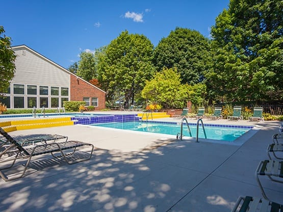 The swimming pool area at Fairlane Meadow Apartments is gorgeous; schedule your tour and see for yourself!