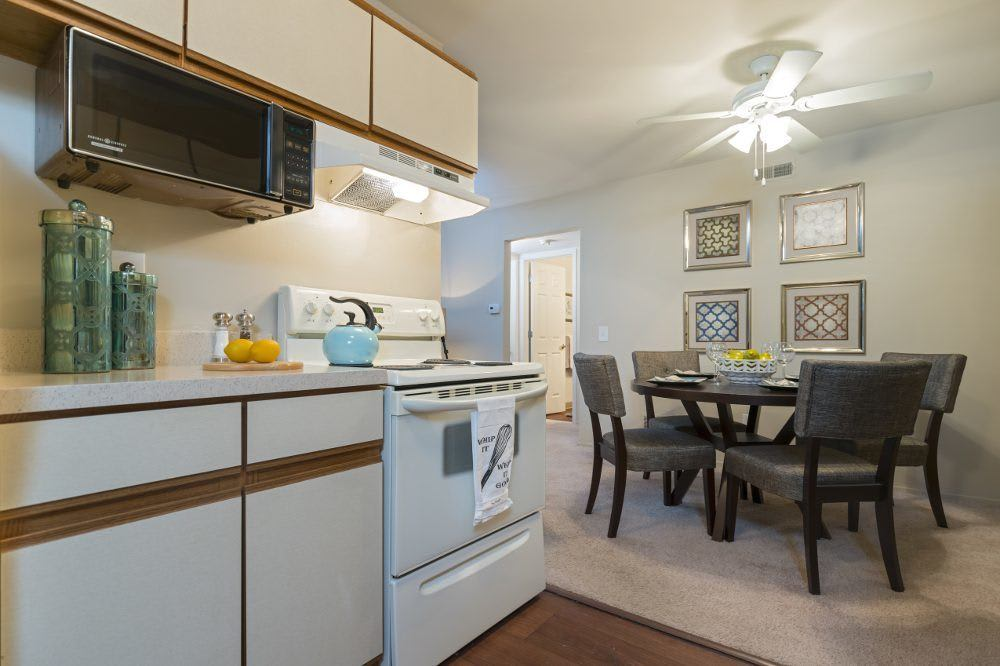 Dining room and kitchen at Diamond Forest Apartments
