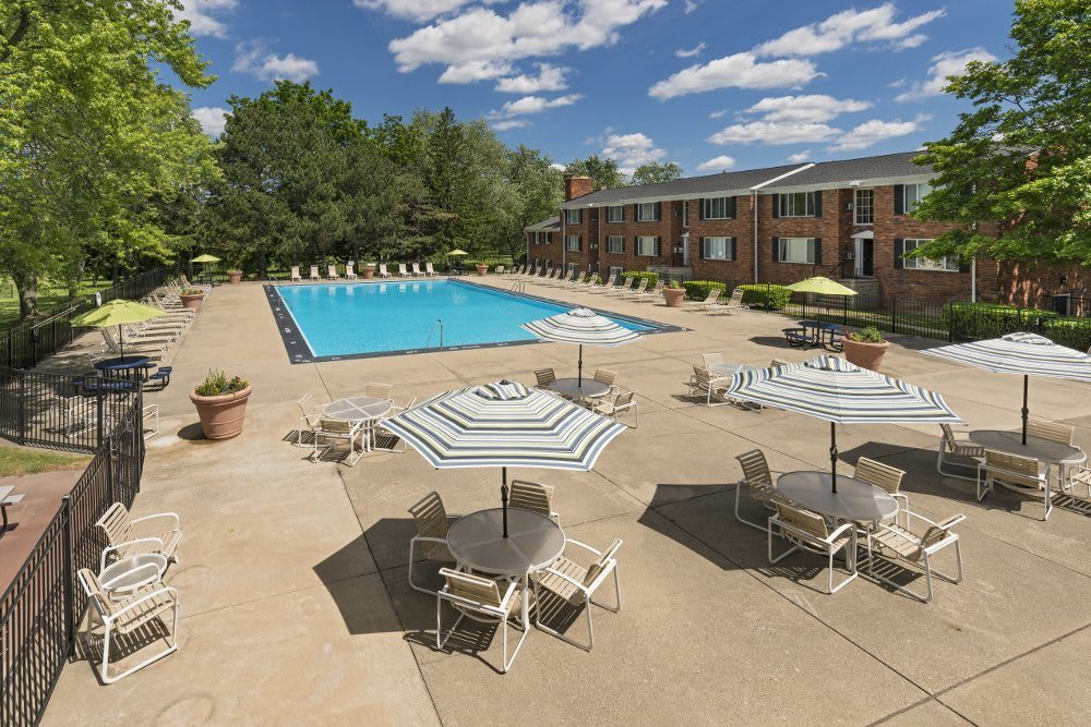 Pool patio at Independence Green Apartments in Farmington Hills, MI