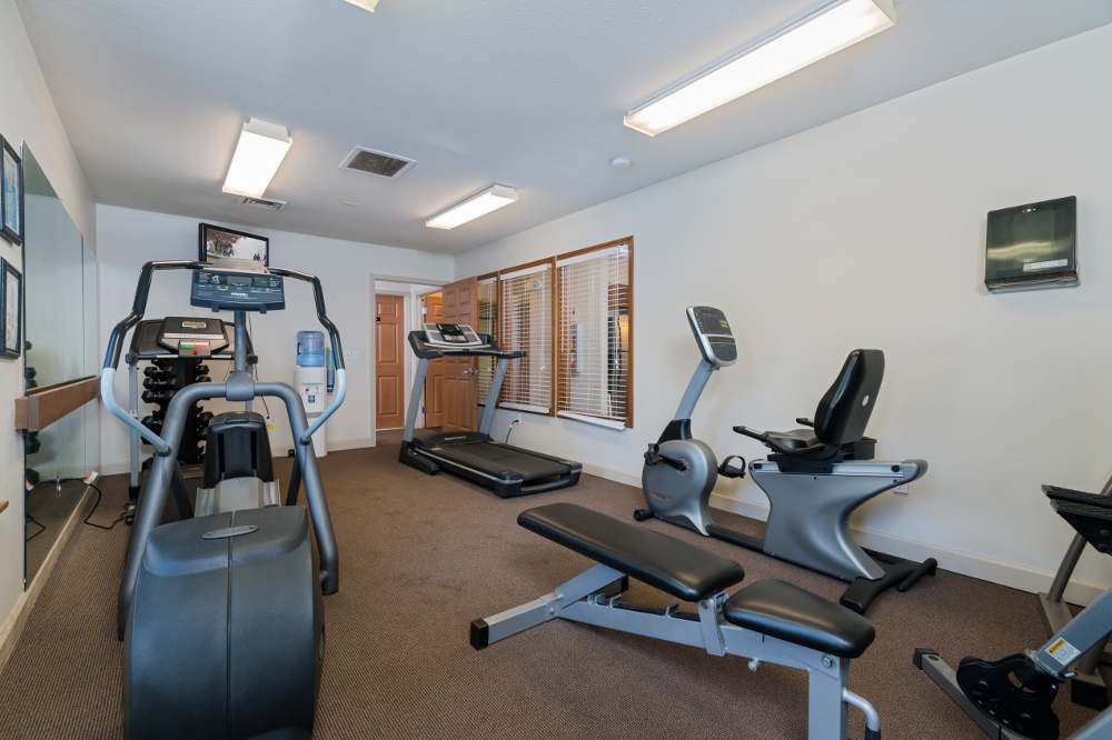 Fitness room at Monticello Apartments in Southfield, MI