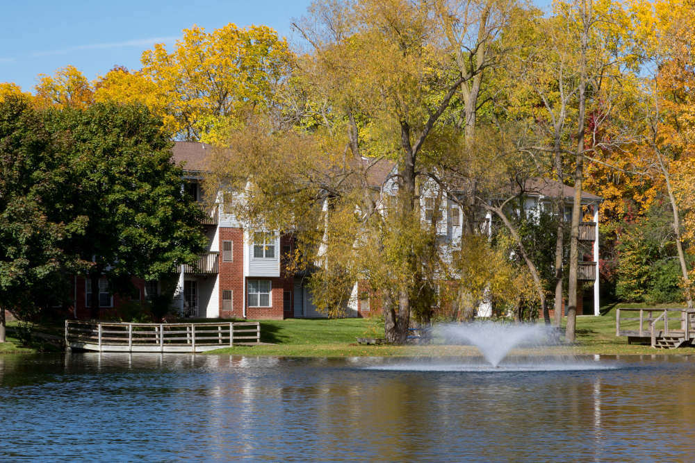 Lake and Bridge at Ponds at Georgetown Apartments in Ann Arbor, MI