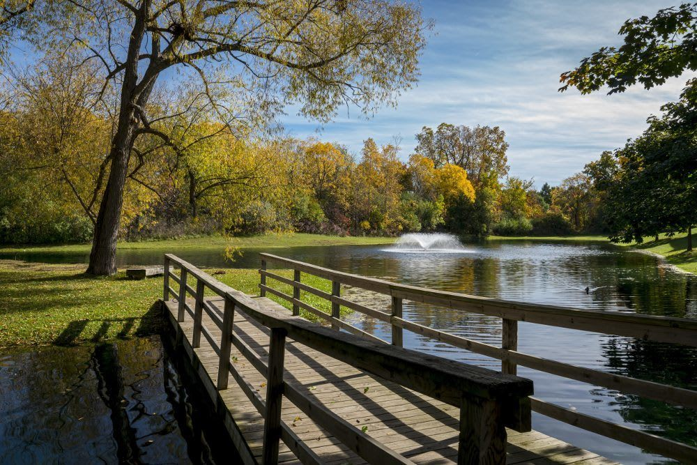 Beautiful lake with bridge at Ponds at Georgetown Apartments