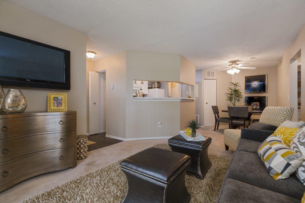 Spacious living room at Sturbridge Square Apartments
