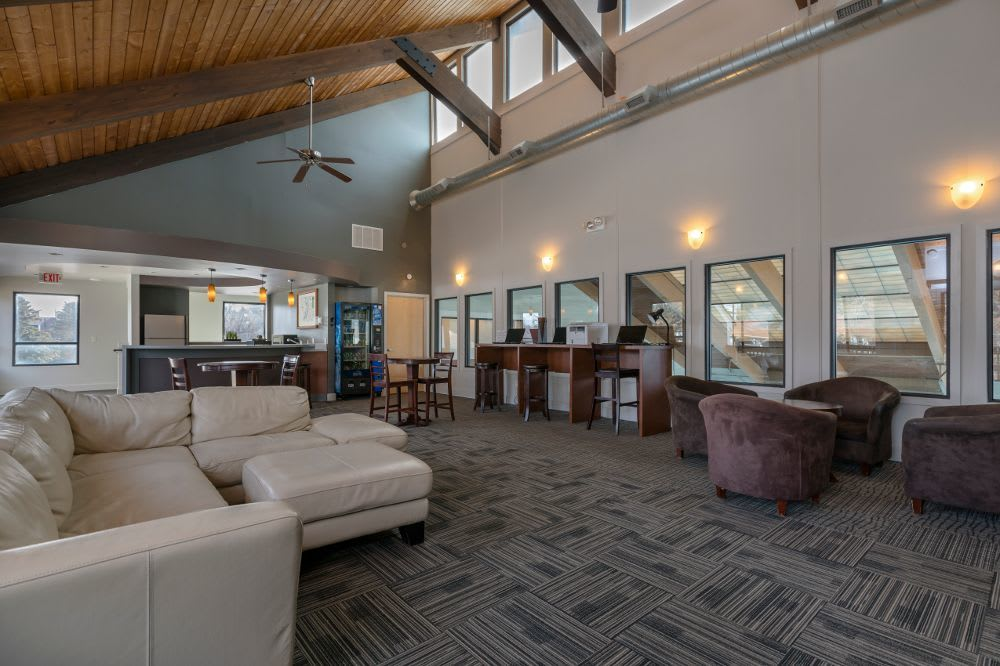 Clubhouse living room at The Pines of Cloverlane Apartments