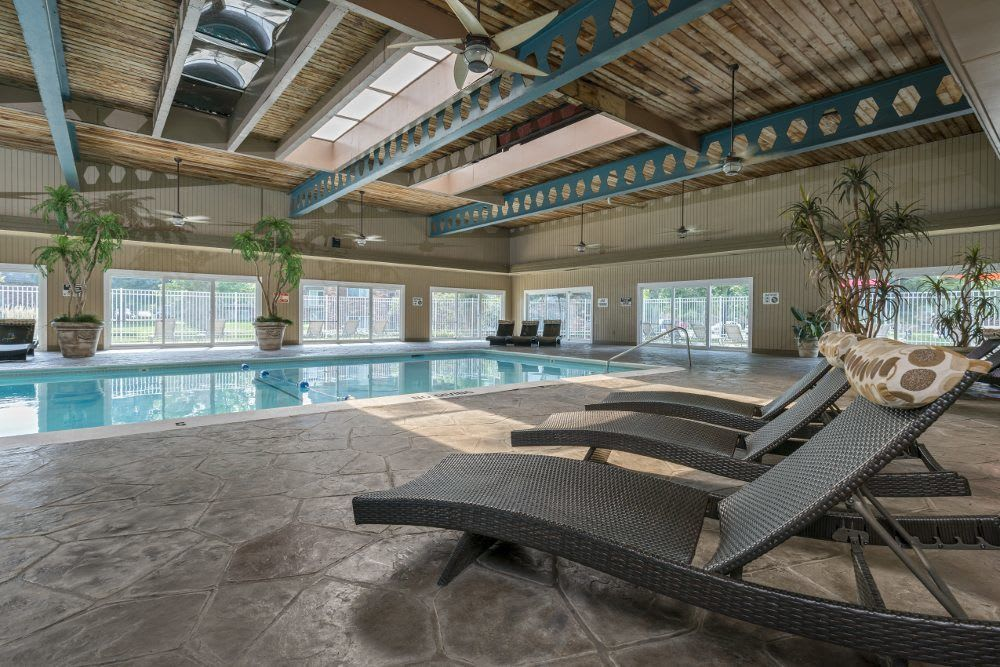 Indoor pool at Plumtree Apartments in Michigan