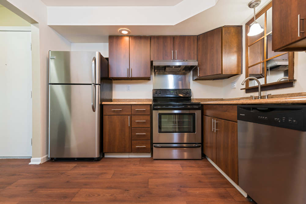 Modern kitchen at Plumtree Apartments in Lansing, MI