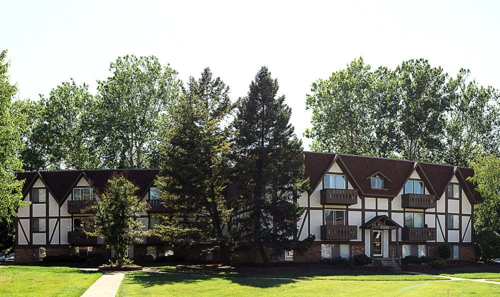 An exterior view of the apartments for rent at Camelot East Apartments