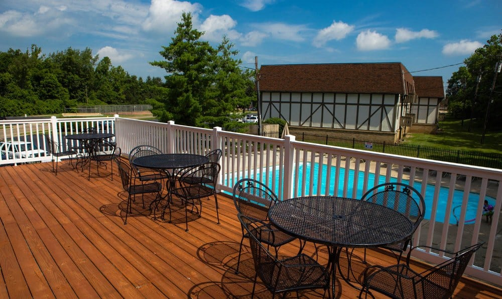 Outdoor patio at Camelot East Apartments in Fairfield, OH