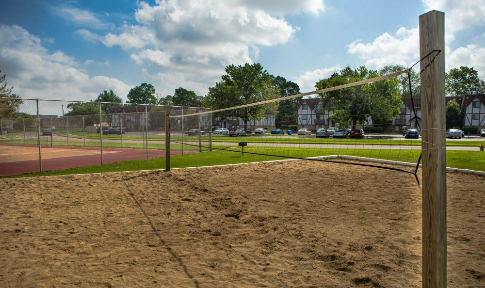 Outdoor volleyball court at Camelot East Apartments in Fairfield, OH