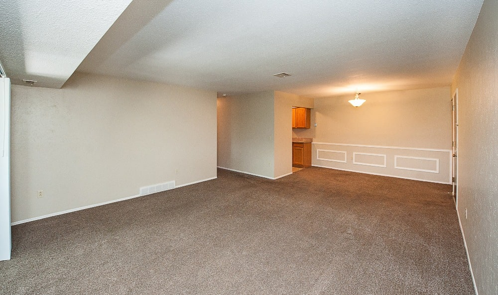 The living room of an apartment at The Woodlands Apartments in Toledo, OH