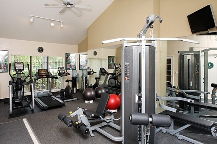 Fitness center at Shadow Creek Apartment Homes in Santa Rosa