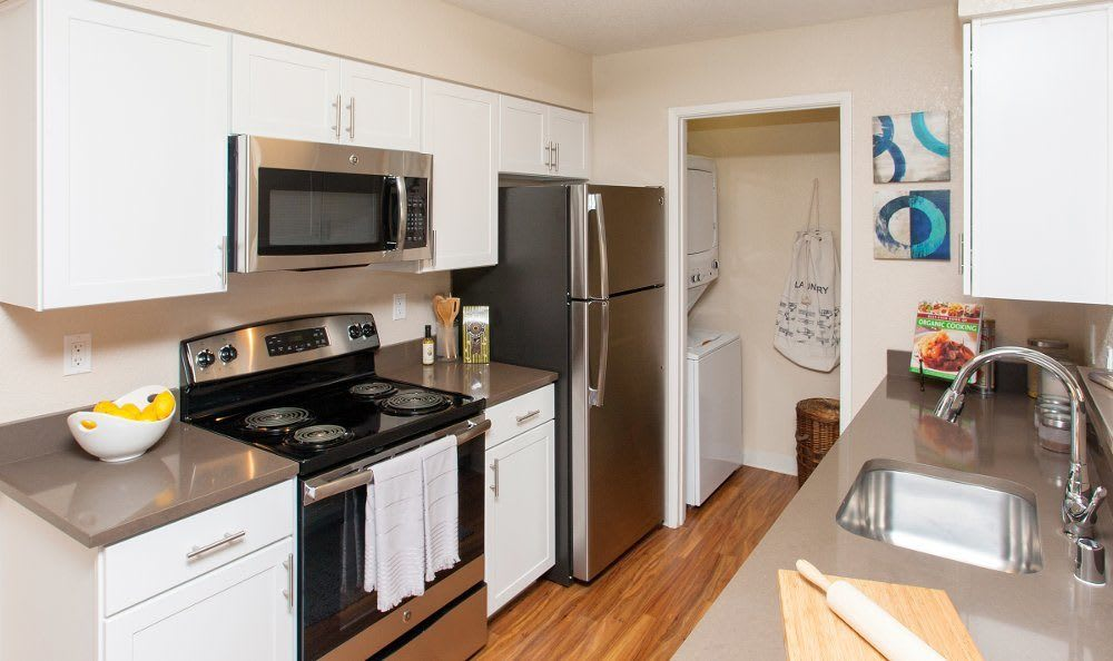 Apartments with stainless steel appliances at The Villages