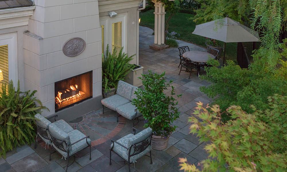 Beautiful outdoor fireplace at One Pearl Place