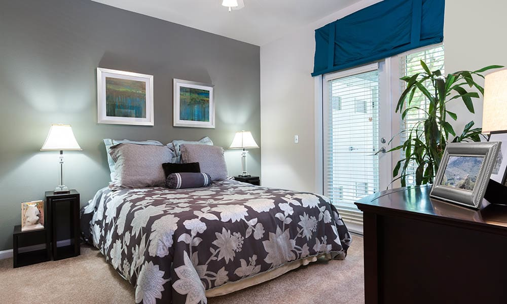 Master bedroom in One Pearl Place apartments