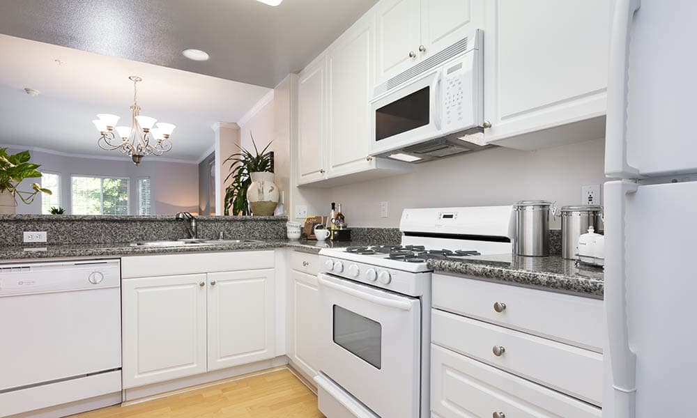 White Kitchen appliances at One Pearl Place