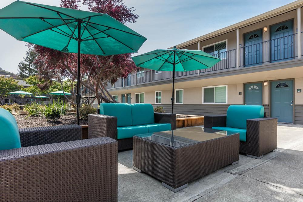 Relaxing Patio Area at Mosaic Apartments