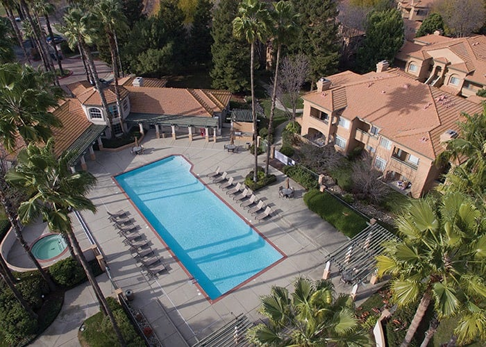 Aerial view of the pool at Adagio in Sacramento