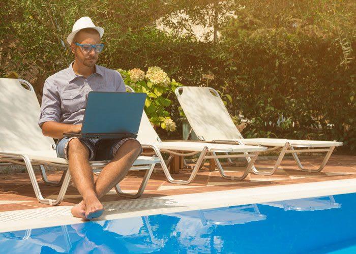 Enjoy apartment amenities including a sparkling pool at Adagio