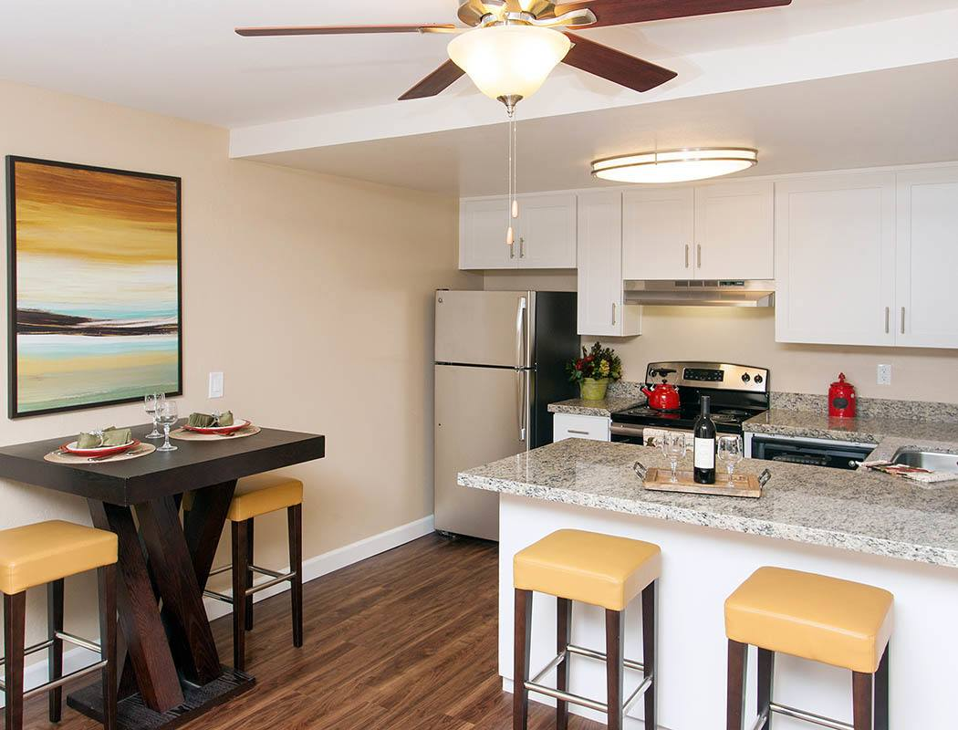 Spacious dining and kitchen area at Tamarack Apartments in Santa Clara