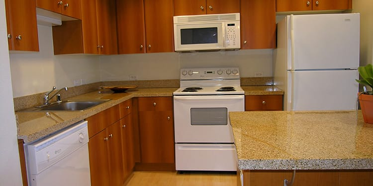 Luxurious apartment kitchen at 1010 Pacific Apartments