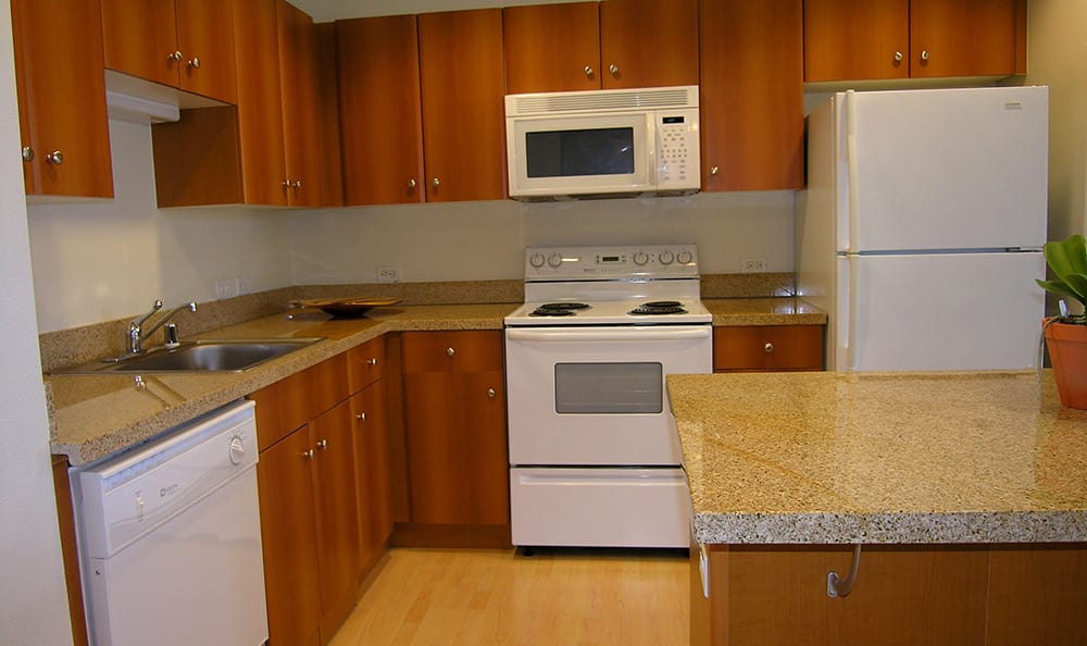 Well-equipped apartment kitchen at 1010 Pacific Apartments