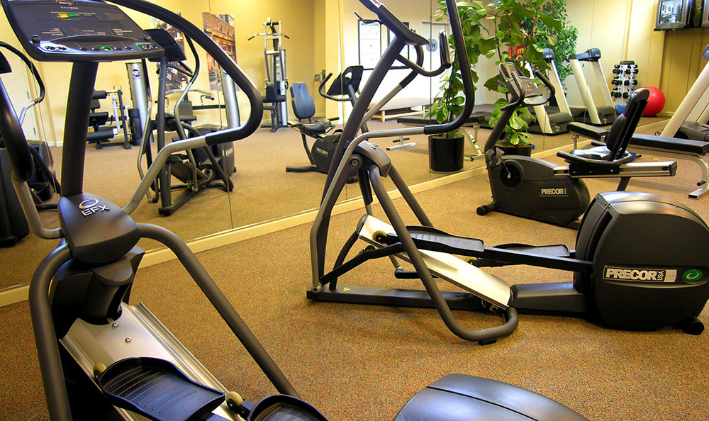 Fitness center at 1010 Pacific Apartments