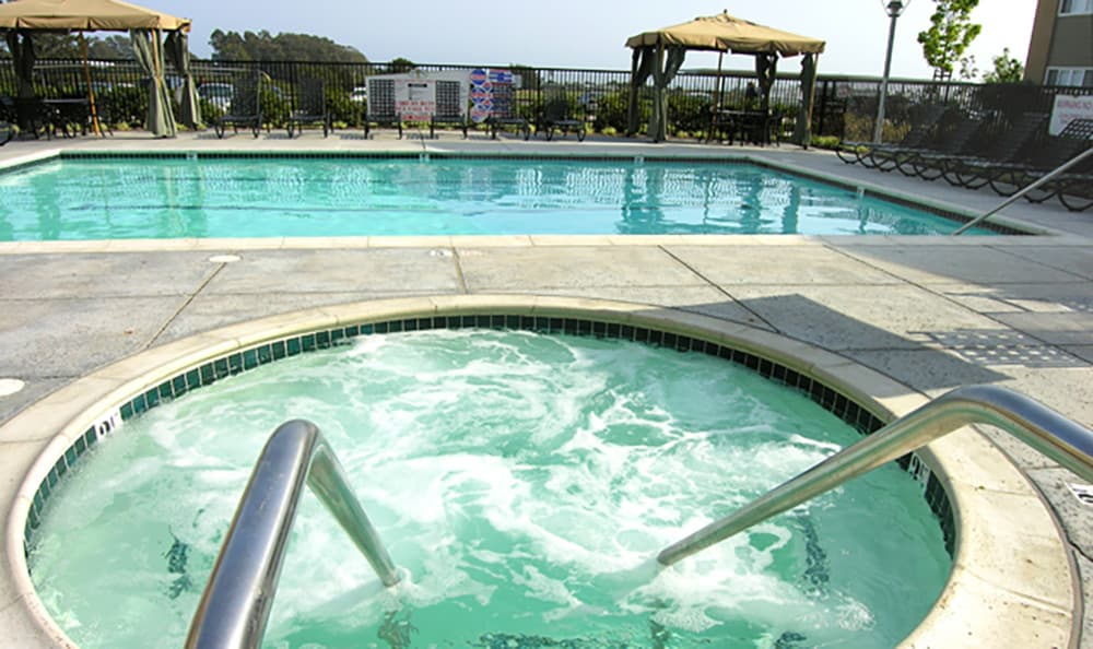 Take a dip in the hot tub after a swim at Pacific Shores's swimming pool