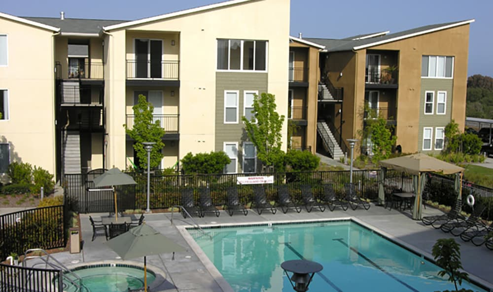 The pool area is inviting at Pacific Shores in Santa Cruz
