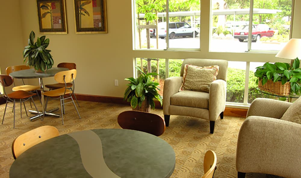 Visit with your new neighbors in the comfortable common spaces at Pacific Shores