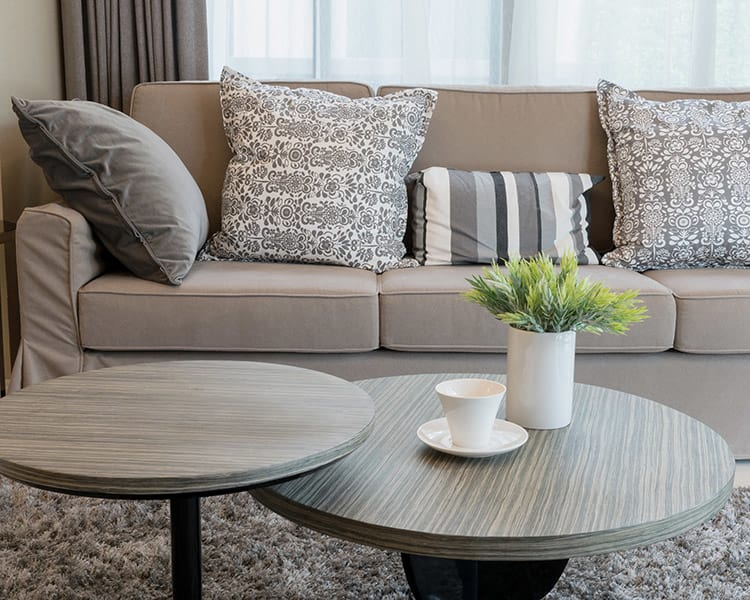 Well-decorated living room looks cozy and inviting at Pacific Shores Apartments