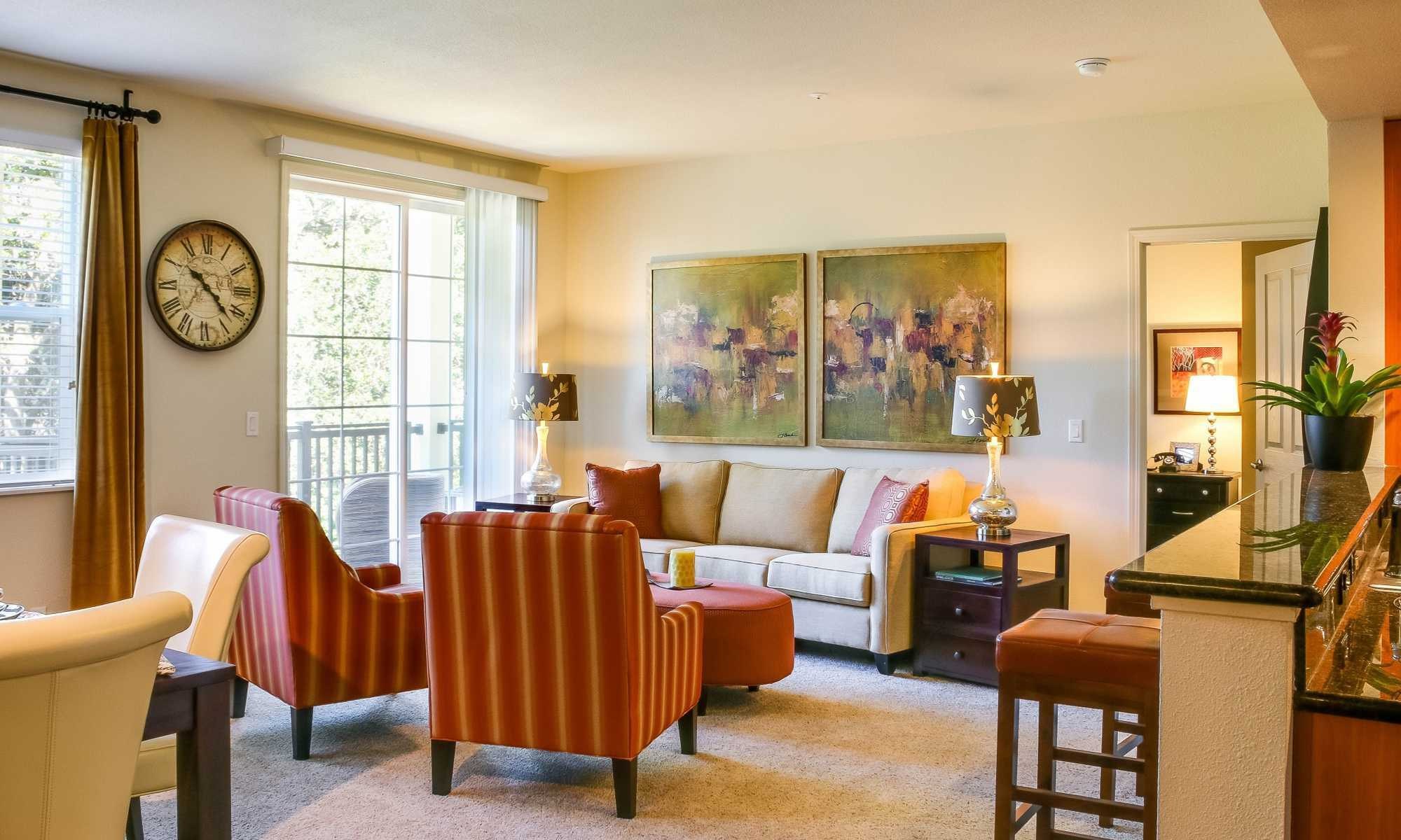 Bright Living Room at the Apartments in Santa Rosa