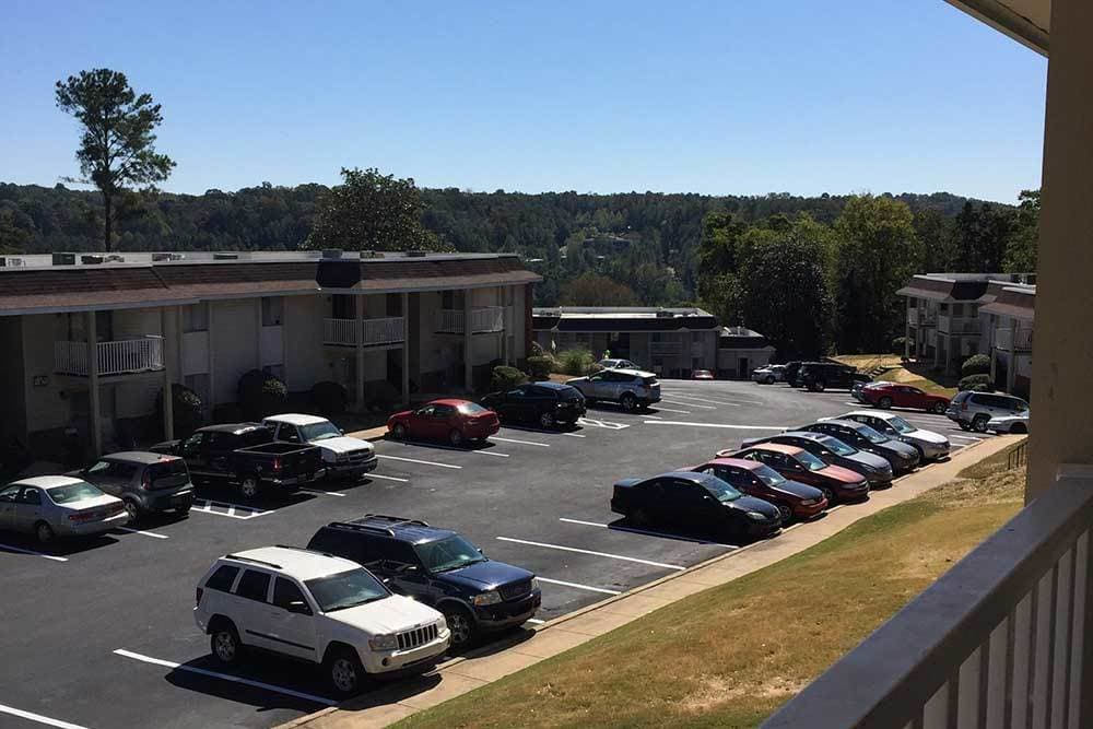 A wonderful view of the 1800 Vestavia parking lot.