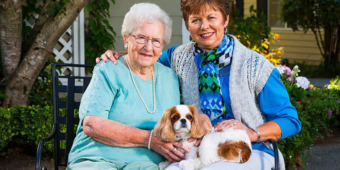 Residents enjoy their pets at Waverly Inn