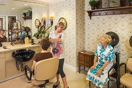 Residents at our Chandler senior living community enjoy access to a private salon