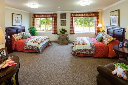 Bedroom At Senior Living Community In Plano Tx